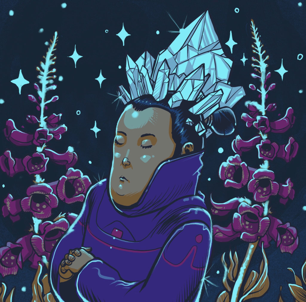 A meditating person with crystals growing out of their head. They are surrounded by orchids.