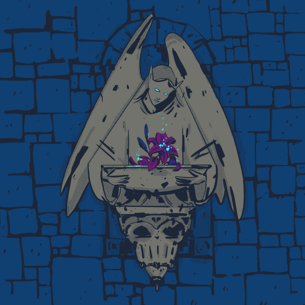 A fountain in a wall. The wall is blue. The fountain is grey and is of an angel looking down at a purple flower.