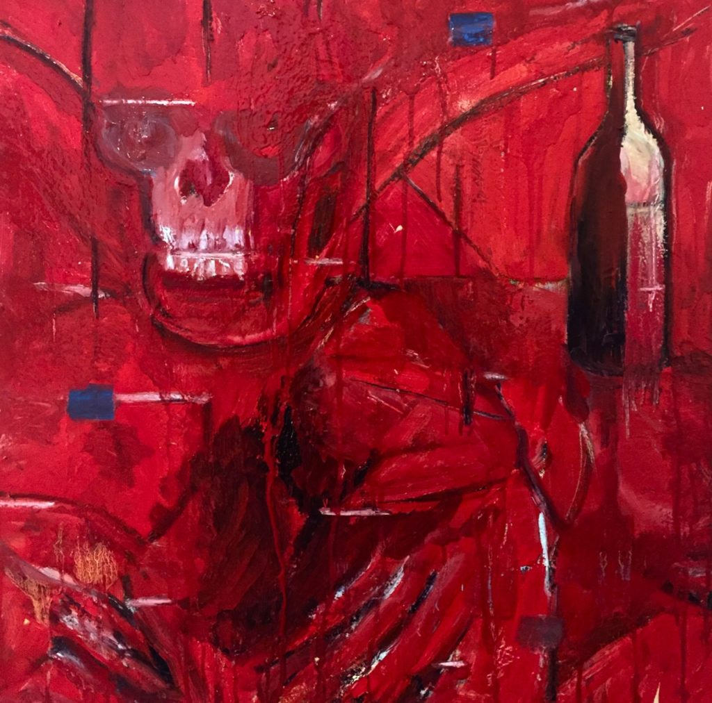 A painting that is primarily red and has pops of blue. A skull can be seen in the top left.