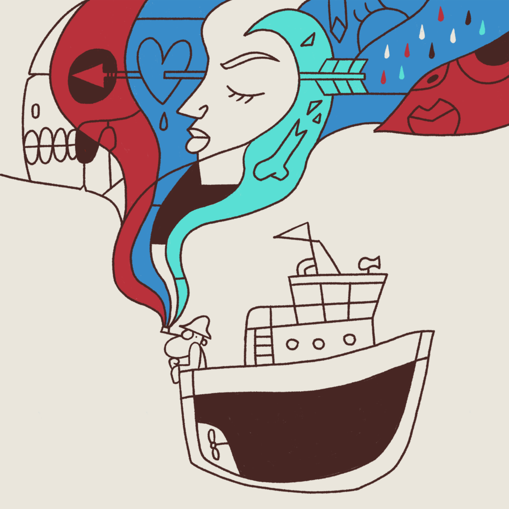 An old sailor on a boat is smoking. The smoke from the pipe contains images of a skull, a girl, an arrow piercing a heart, a tentacle, and rain.